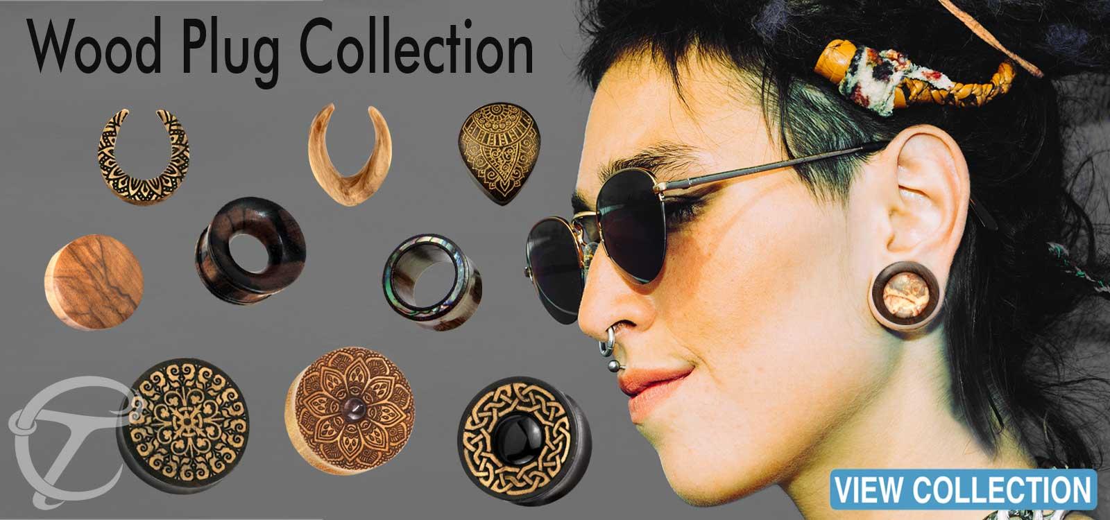 hand,painted,wood,plugs,organic,piercing,wholesale