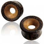 Concave palm/teak wood plug