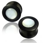 Rippled Black Arang wood plug with mother of pearl