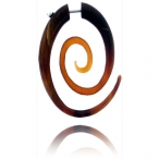 Red buffalo horn, oval spiral