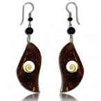 Coco-nut earring with shiva eye and 316L steel hook