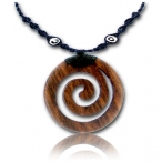 Flamed horn pendant / leather necklace