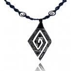bone pendant / leather necklace