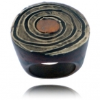 Hand painted spiral wood ring