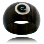 wood and spiral shell ring