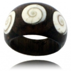 Wood and shell ring