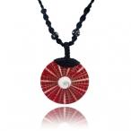 Shiva eye shell pendant with leather