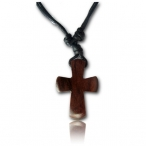Brown narra wood pendant with cotton cord necklaces (free size)