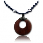 Brown narra wood pendant / leather necklace