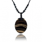 Laminated coco-shell / leather necklace