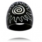 black colored bone ring with carving