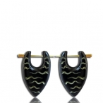 black colored bone earring with ingraving