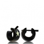 star inlayed horn earring