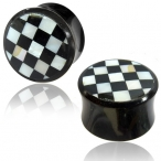 Horn plug with mother of pearl checkers inlay