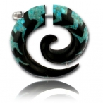 turquoise inlayed horn spiral
