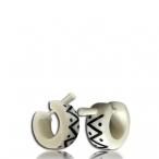 Horn inlayed bone earring