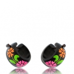 Hand painted wood earring