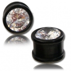 Black Arang wood plug with crystal