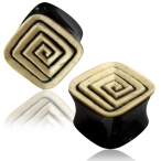 Coco shell ingraved square horn plug