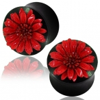 Red leather flower in arang wood plug