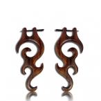 Flame tattoo earring ,Narra wood earring