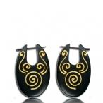 Painted Narra wood earring