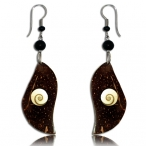 Coconut earring with shell inlay