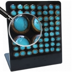 Coco-nut shell with turquoise inlay