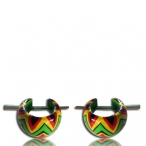 Hand painted wood earring with horn pin