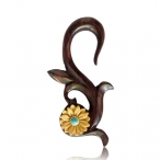 Narra wood with coco-shell carved flower