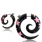 Horn with pink agat inlay