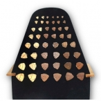 Display with mixed triangle wood plugs