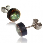 Abalone shell inlayed coco stud with 316L steel stud