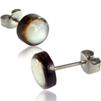 Mother of pearl inlayed coco-shell stud earring with 316L surgical steel stud