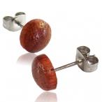 Mandarin wood stud earring with 316L steel post