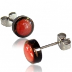 Fake red coral inlayed coco-shell earring stud with 316L surgical steel