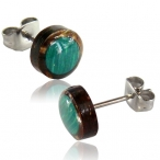 Malachite inlayed coco-shell stud with 316L surgical steel