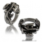 Stainless steel ring snake and cross