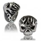 Stainless steel ring , flaming skull