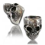 Stainless steel ring, flower skull ring