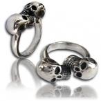 Stainless steel ring , double skull ring