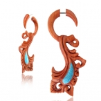 Sawo wood with turquoise inlay , surgical steel pin