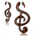 Narra wood Music note fake piercing