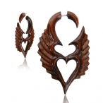 Narra wood fake piercing expander, angel heart
