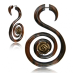 Narra wood double spiral fake piercing with brass rose inlay.