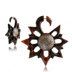 Narra wood fake piercing with metal inlay.