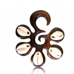 Narra wood piercing with shell inlay.