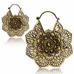 Brass mandala earring.