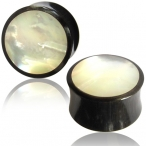mother of pearl inlayed horn plug