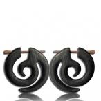 spiral pin earring (Narra wood colored black)